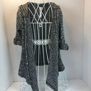 Beautees Cardigan Sweater Draped Hoodie Open Front